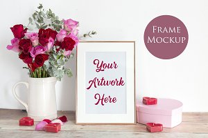 Rose Gold Frame Mockup - red roses
