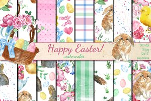 Watercolor Happy Easter patterns