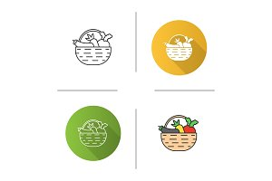 Basket with vegetables icon