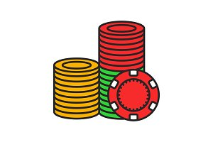 Casino chips stack color icon