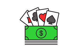 Cash with playing cards color icon