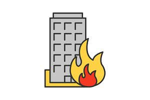 Burning building color icon