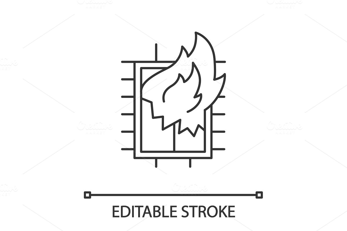House on fire linear icon