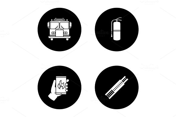 Firefighting glyph icons set in Graphics
