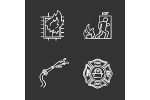 Firefighting chalk icons set
