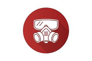 Respirator flat design long shadow glyph icon