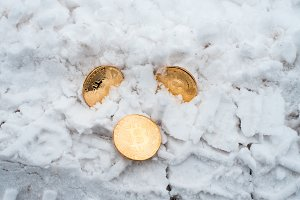 The lost money. Copprito coins of gold bitcoin are lying on the snow. No one needed. In winter on the road, traces of cars.