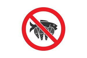Forbidden sign with salmon fish glyph icon