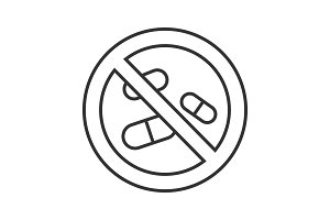 Forbidden sign with pills linear icon