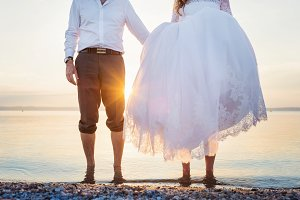 Wedding couple by the sea.