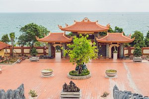 Beautiful Buddhist temple on the hillside, Phu Quoc, Vietnam