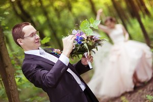 Wedding couple in the nature.