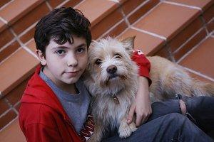 teenager boy and terrier like dog hug