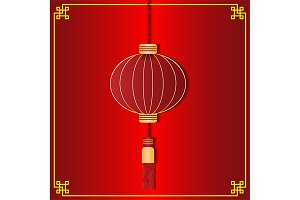 vector of red chinese lantern