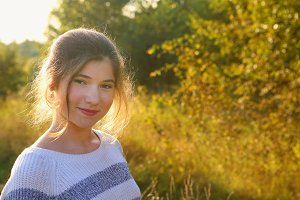 girl summer meadow country sunny outdoor portrait