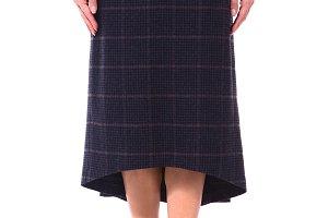 woolen checked flared skirt on model