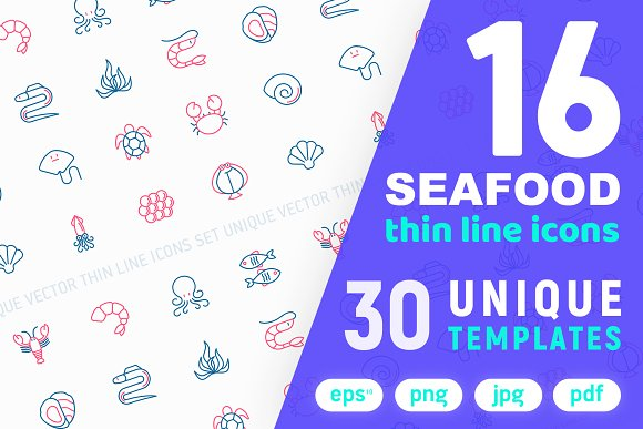 Seafood Icons Set Concept