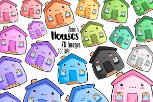 Kawaii Houses Clipart