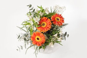 Flower bouquet on gray background