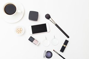 Beauty & accessories. Flat lay