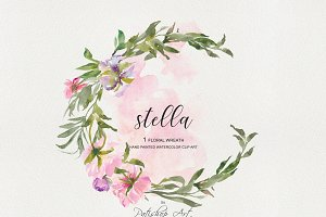 Watercolor Peony Wreath Clip Art
