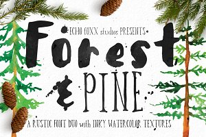 Forest & Pine Textured Font Bundle