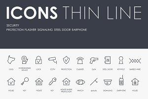 Security thinline icons