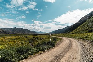 Dirt road in Altai mountains