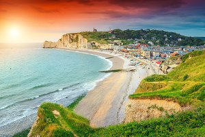 Amazing sunset and beach in France