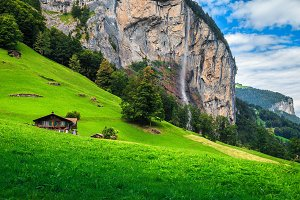 Famous Lauterbrunnen alpine village