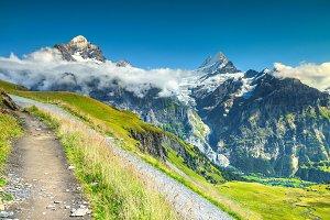 Mountain trails in Swiss Alps