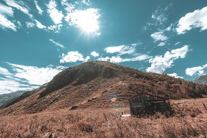 Abandoned shack in mountains