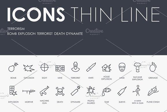Terrorism thinline icons