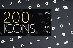 Hipcons 200 icon pack with Web Font