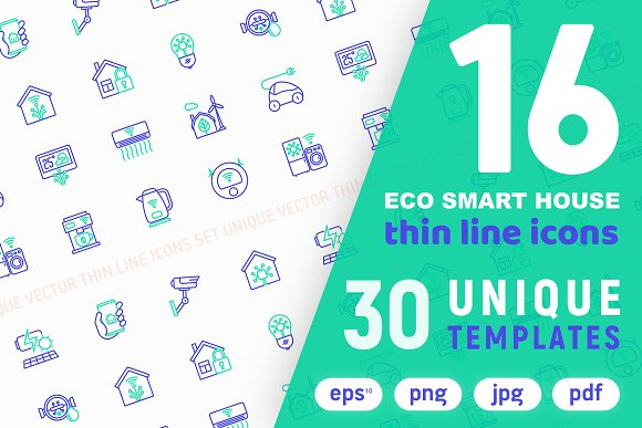 Eco Smart House Icons Set Concept