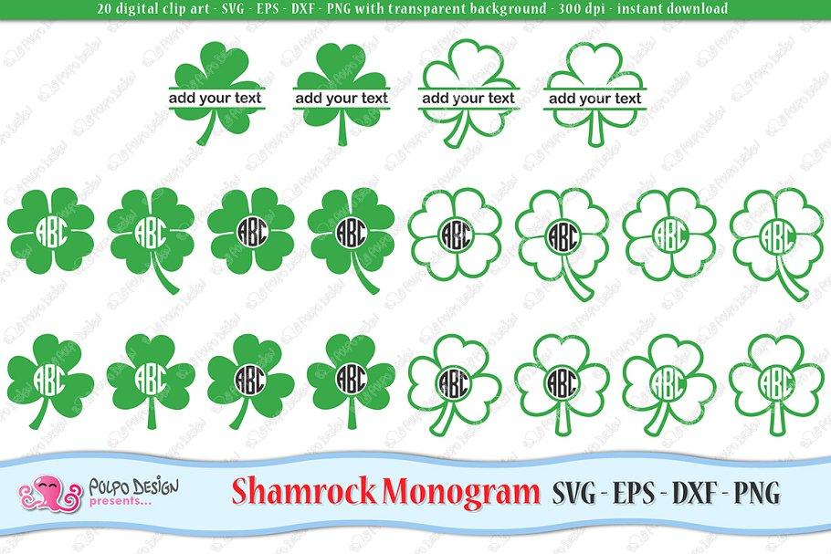 Shamrock Monogram Svg Pre Designed Photoshop Graphics Creative Market