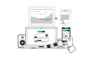 Money transfer.Sending coins from personal account on computer to smart phone. Vector illustration