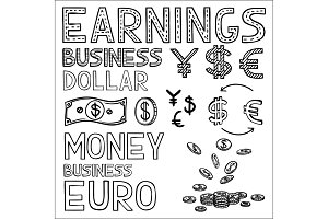 Hand draw finance and money doodle sketch business icon, dollar euro sign papper currency