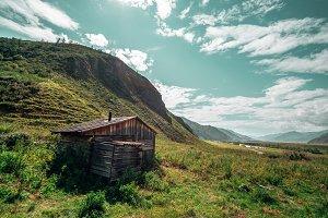 Forsaken shack in mountains