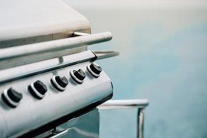 Close-up focus Barbeque steel Gas stove knob.