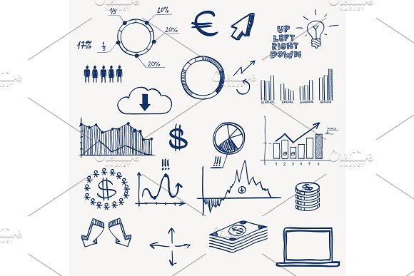 Business Finance Management Infographics Social Media Doodle Hand Draw Elements Concept Graph Chart Pie Arrows Signs Earning Money