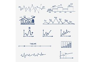 Graph, chart business finance statistics infographics doodle hand drawn elements.