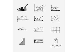 business finance statistics infographics doodle hand drawn elements. Concept - graph, chart, arrows signs