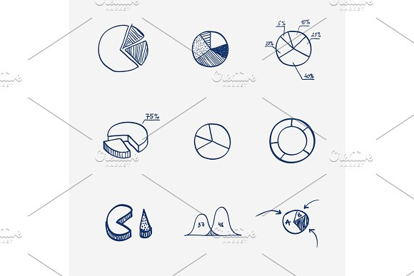 Set Of Circle Chart Diagram Graph Pie Hand Draw Concept Business Finance Infographics Doodle