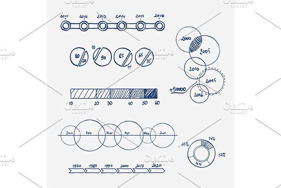 Analytics Business Finance Statistics Infographics Doodle Hand Drawn Elements Concept Graph Chart