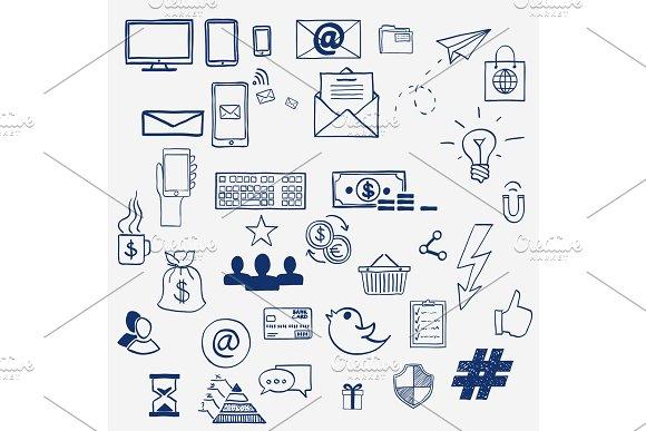 Hand Draw Social Media Sign And Symbol Doodles Elements Concept Tweet Hashtag Internet Communication
