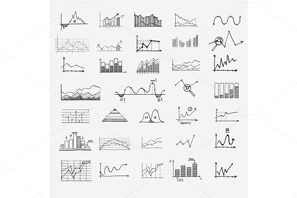 Business Finance Statistics Infographics Doodle Hand Drawn Elements Concept Graph Chart Arrows Signs Search Earnings Money Profit