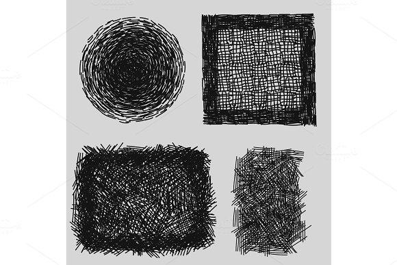 Hand Drawn Sketches Rough Hatching Grunge Texture Vector Illustration
