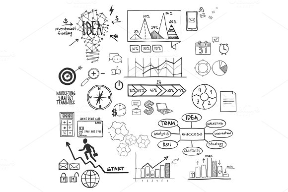 Business Finance Elements And Icons Doodle Hand Drawn Sketch