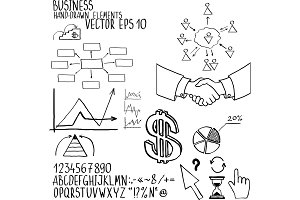 Business elements. Hand-drawn